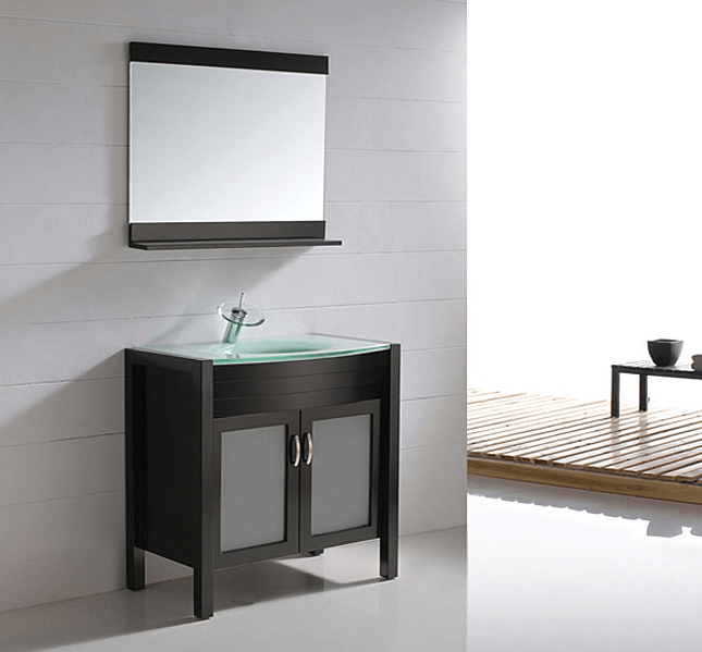 Black bathroom vanity with glass top
