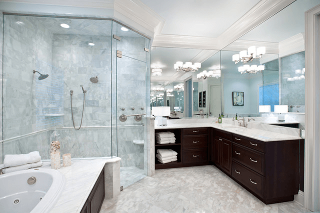 Brown L Shaped Bathroom Cabinets with large mirror