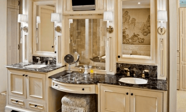 Custom master bathroom vanities with makeup area