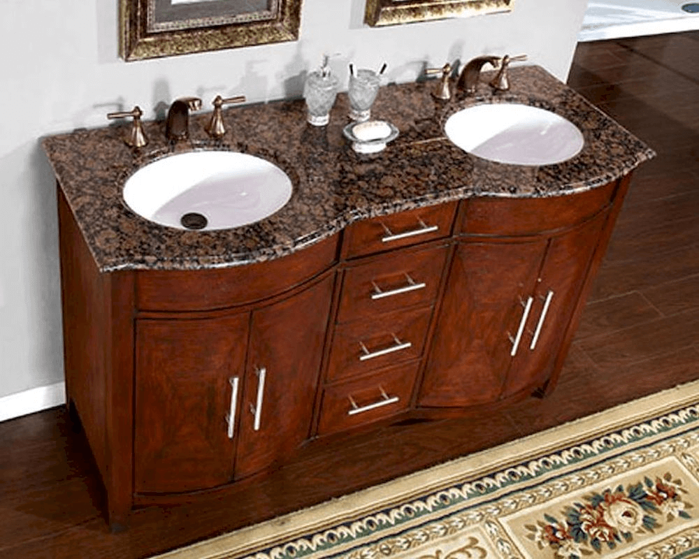 Double bathroom vanities with granite tops pictures