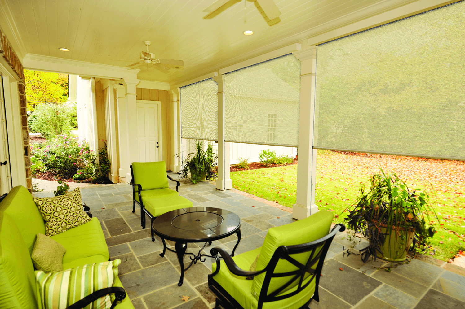 Exterior porch shades and blinds