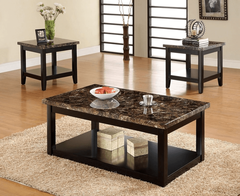 Faux Marble Coffee Table Set