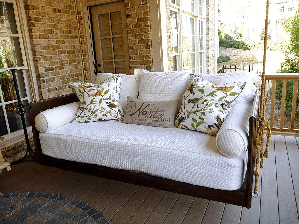 Hanging porch swing bed
