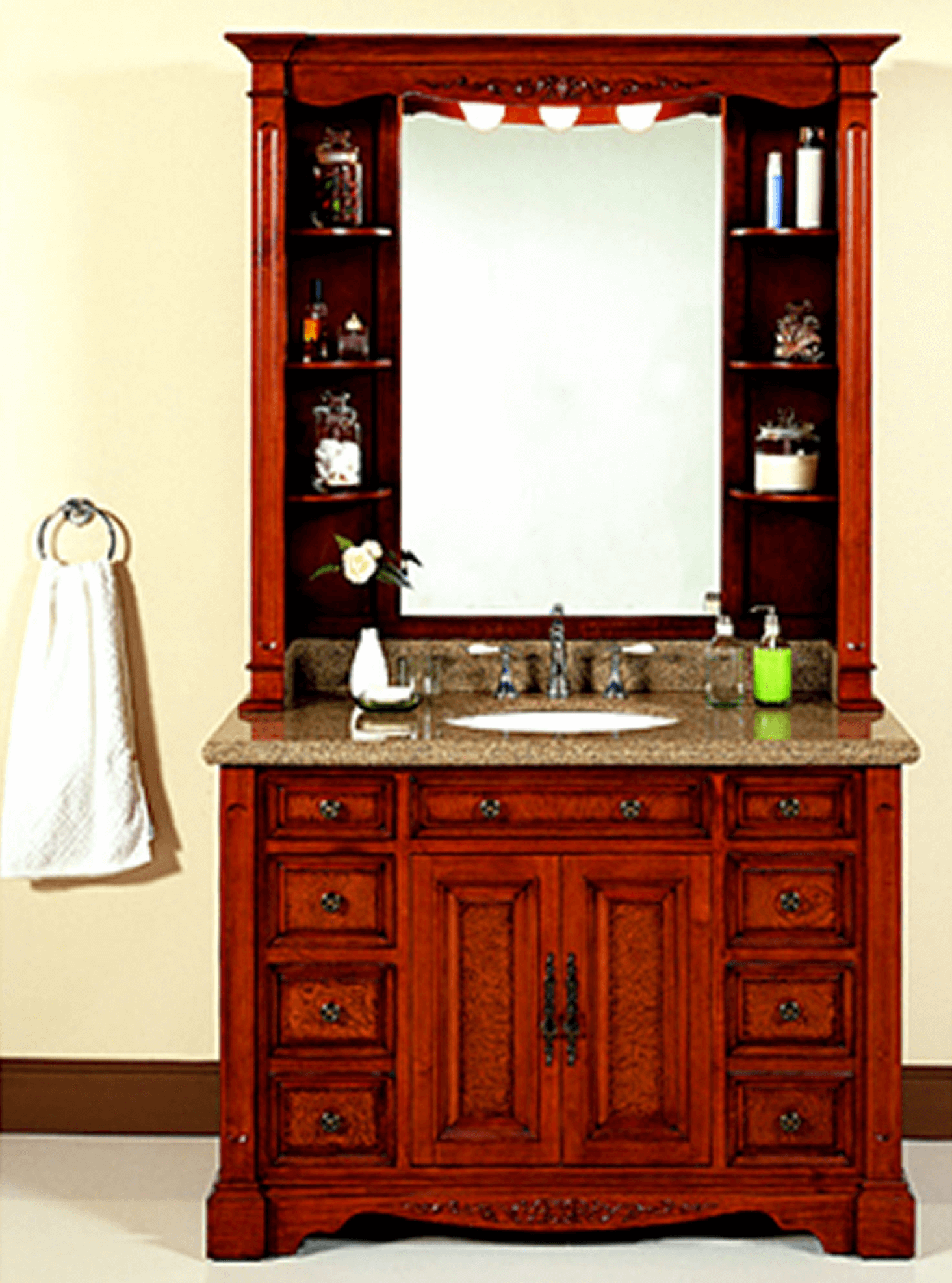 Lanza single-sink bathroom vanity with granite countertop and hutch
