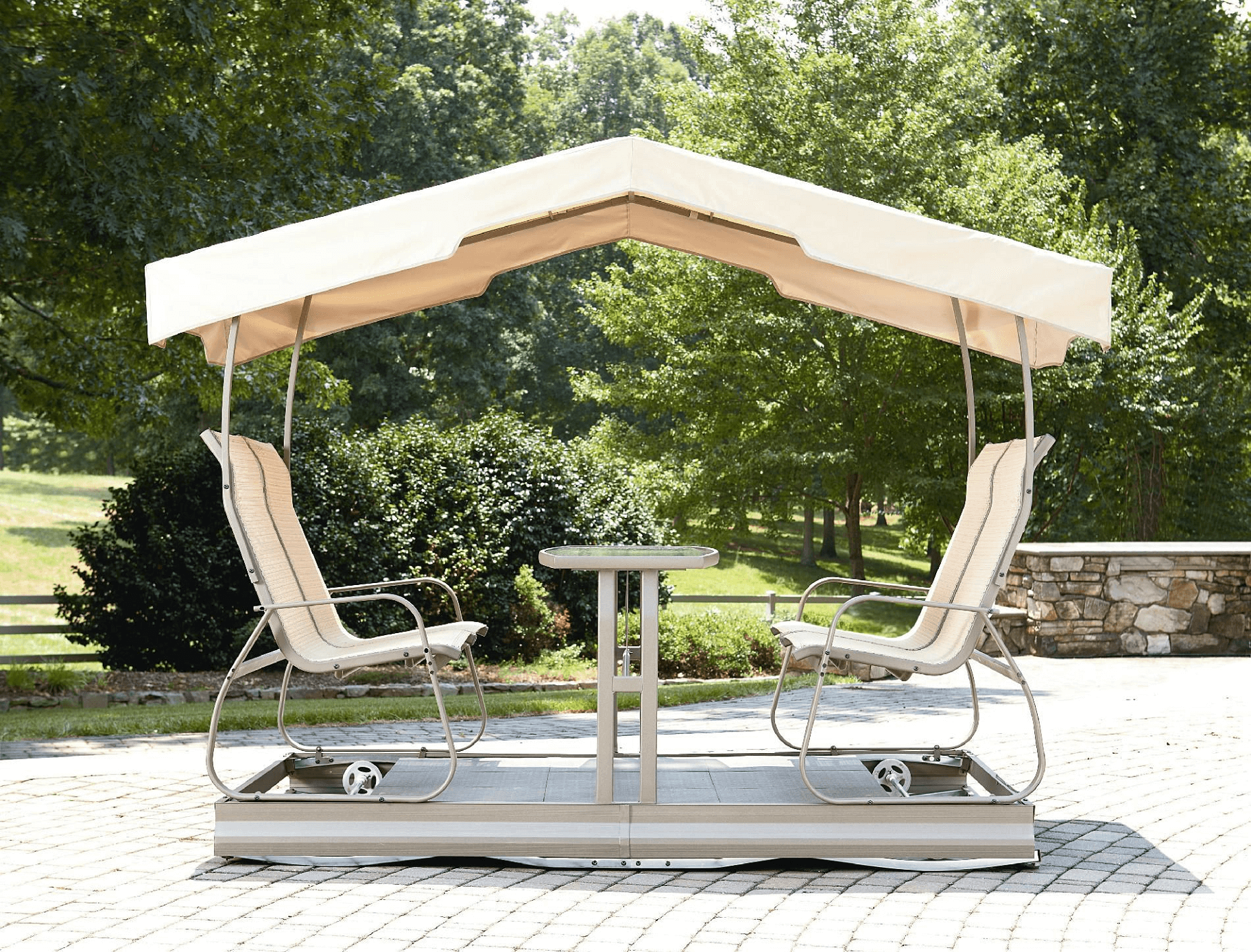 Outdoor glider with canopy for 4