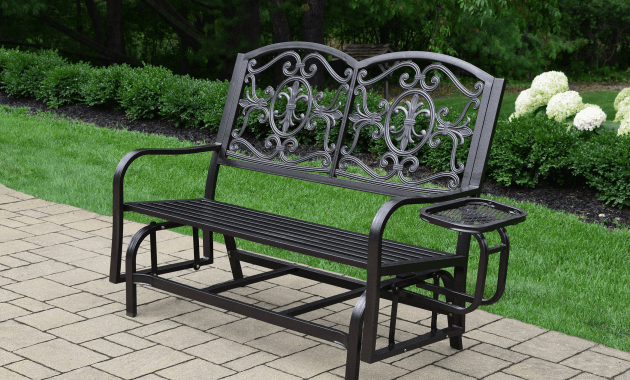 Outdoor metal glider loveseat