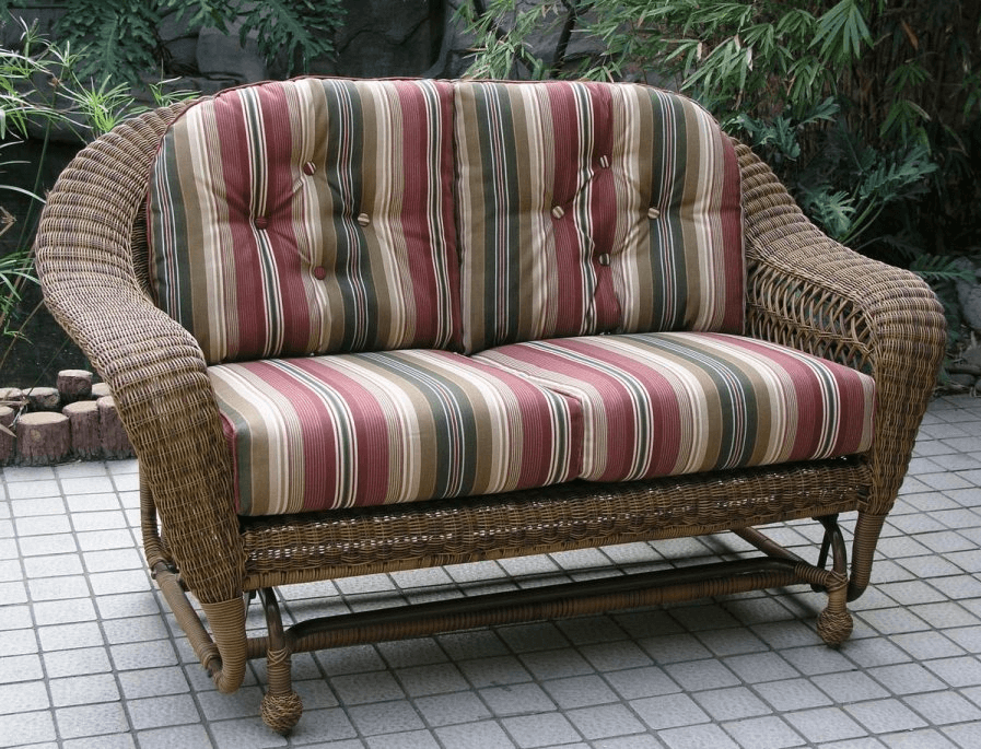 Outdoor wicker glider loveseat