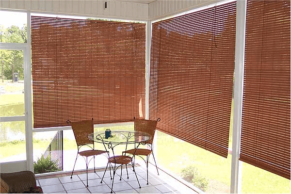 Porch bamboo roll up blinds