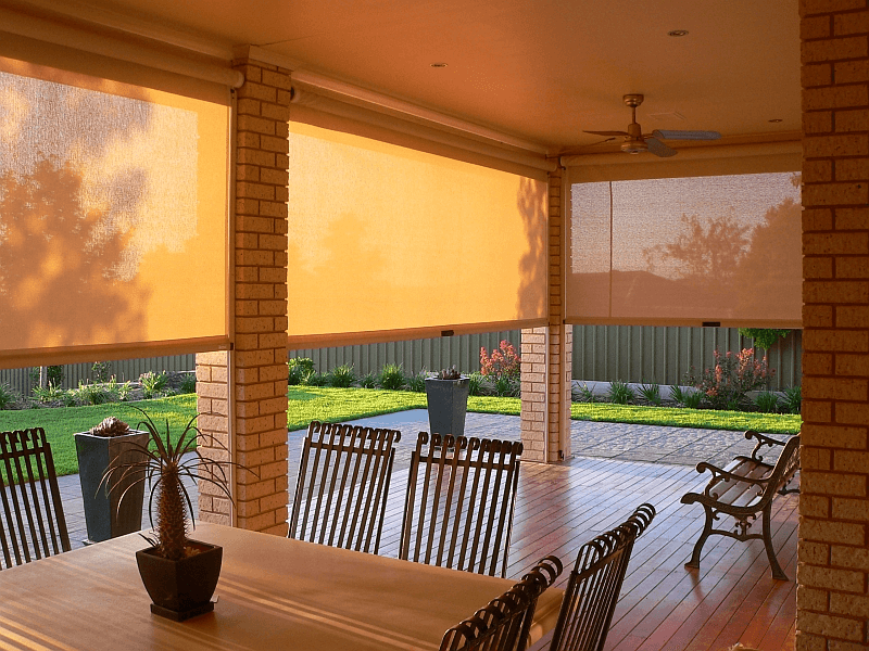 Porch blinds for wind and rain