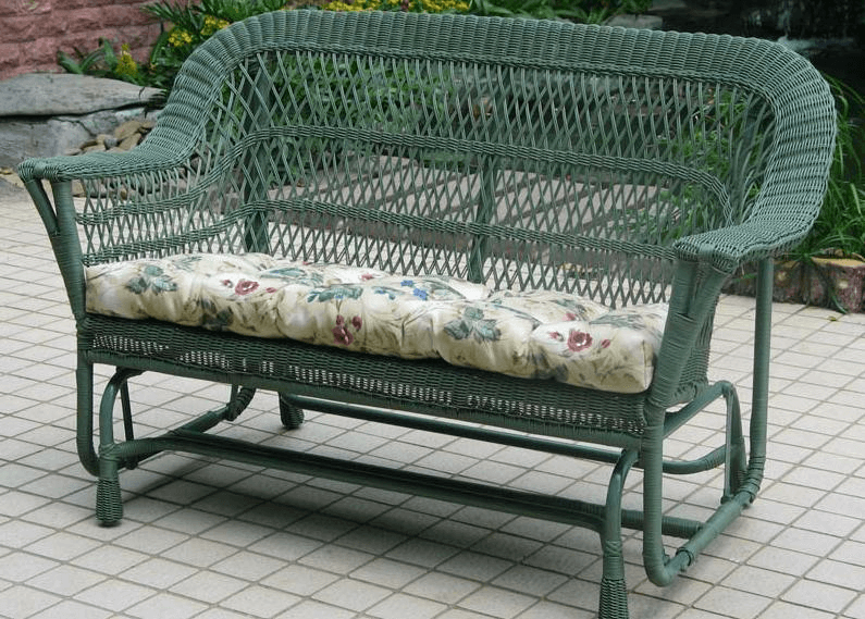 Porch glider with cushions