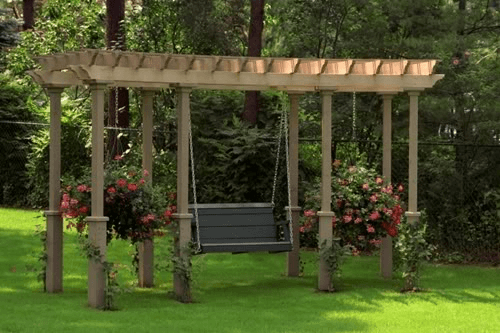 Porch or outdoor garden Fancy swing with with Trellis for Flowers