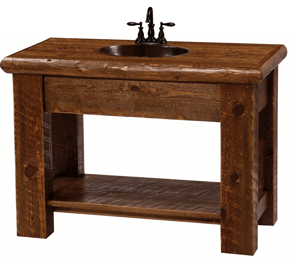 Rustic bathroom vanity with copper sink