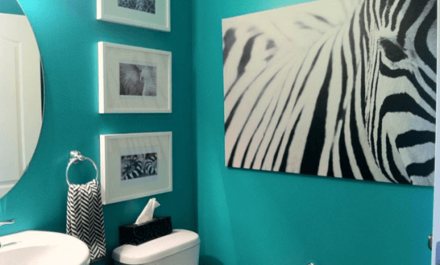 Teal zebra print bathroom decor - EasyHomeTips.org