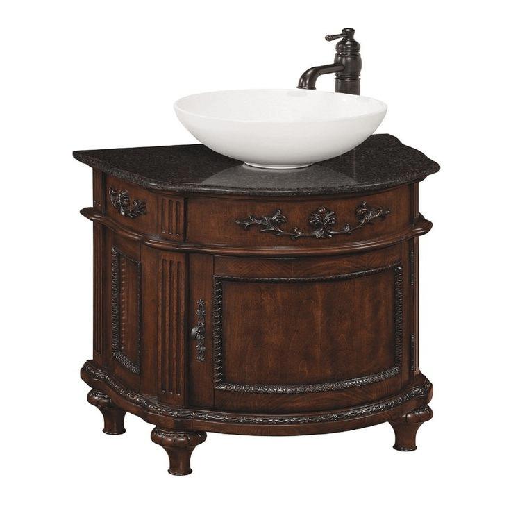 Vinton sienna vessel single sink bathroom vanity with granite top