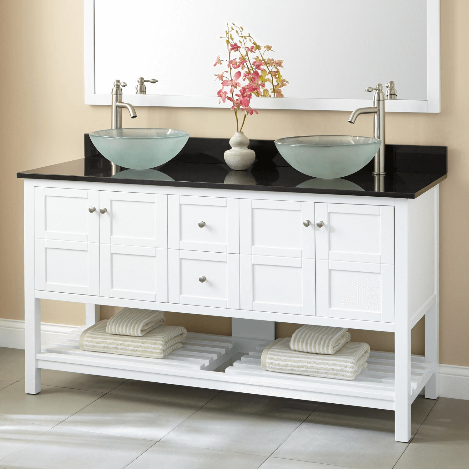 White double vanity with vessel sinks