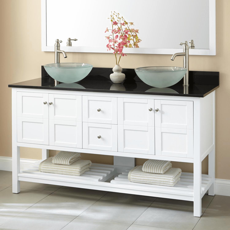 White double vanity with vessel sinks