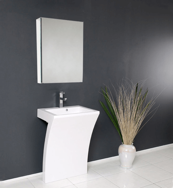 White modern vanity for pedestal sink and decoration for bathroom
