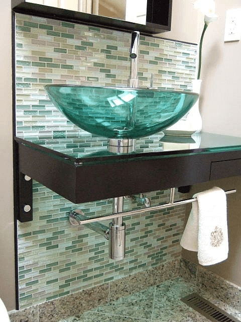 3x1 inch Green Glass Tiles for Sink Background