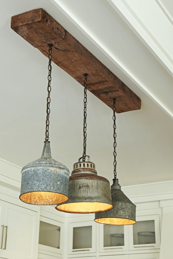 Barn Wood and Light Bulbs Ceiling Mounted for Bathroom rustic lighting