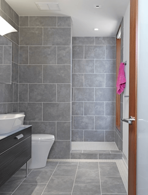 Bathroom Light Grey Large Tiles