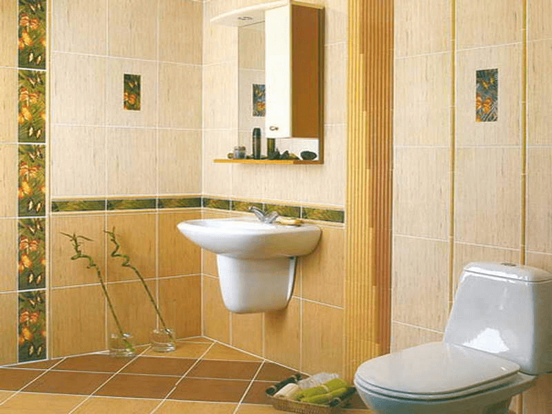 Bathroom Wall Tile Ideas with borders in half of the wall height
