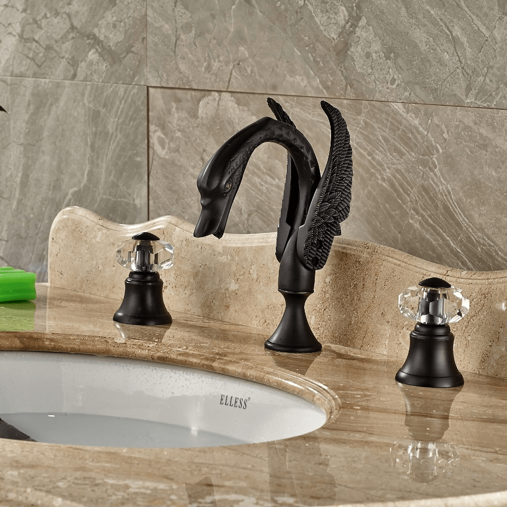 Bathroom sink faucet crystal handles