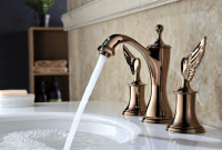 Bathroom sink faucet with long spout reach