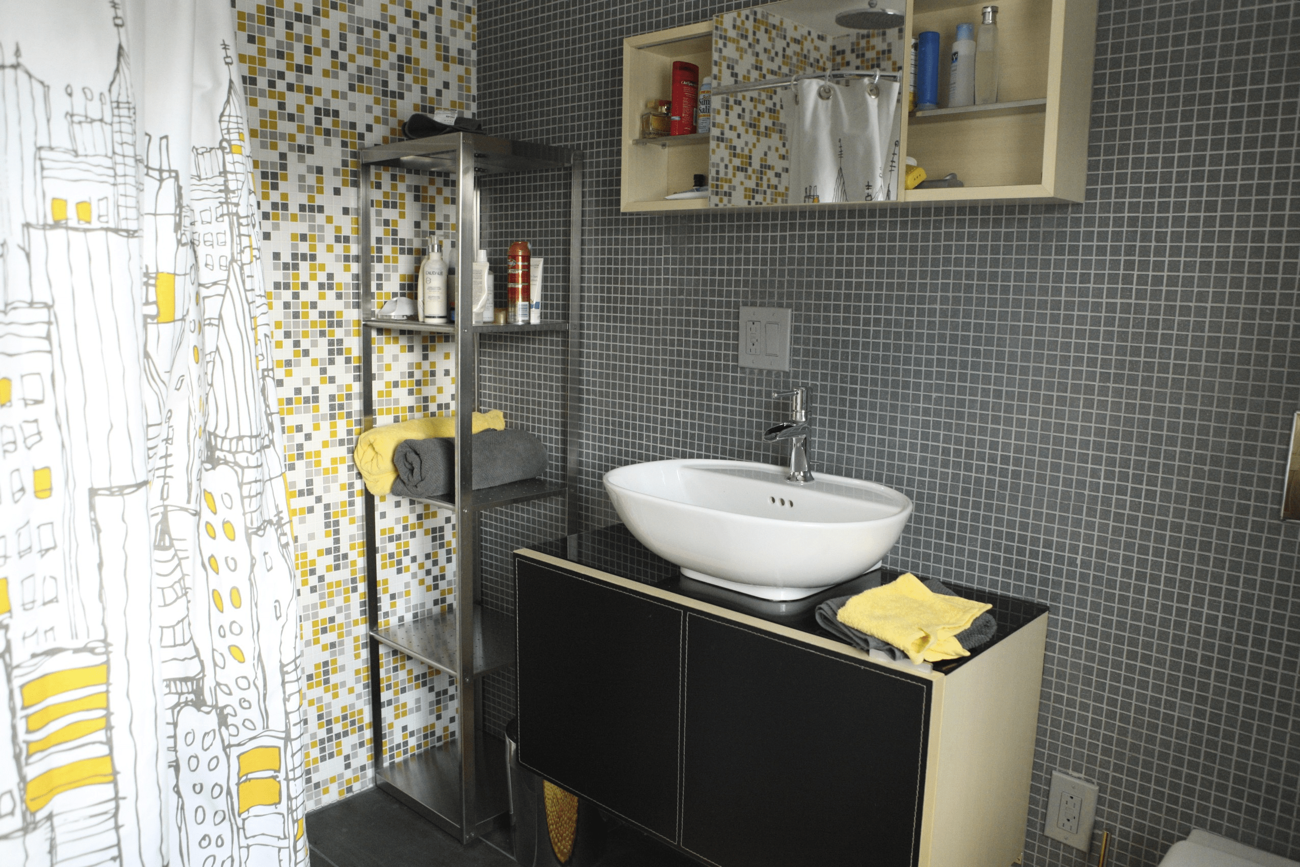 Black, yellow, and gray bathroom tile ideas
