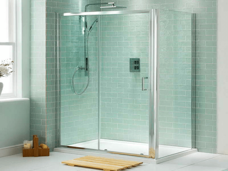 Bluish and Green Glass Tiles for Shower Area