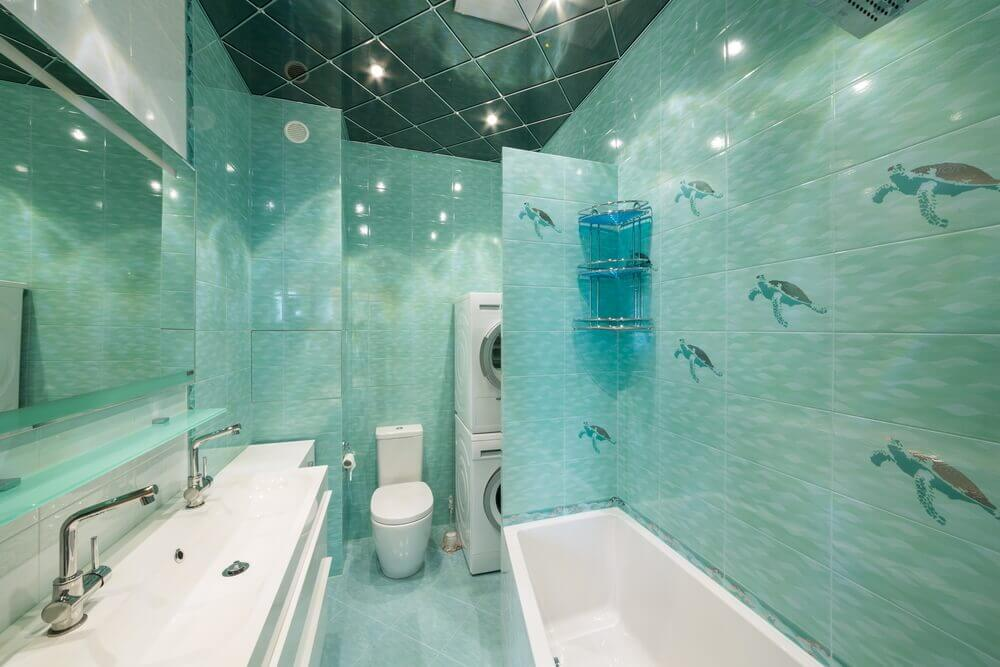 Green Glass and Watery Blue wall tiles design for bathroom