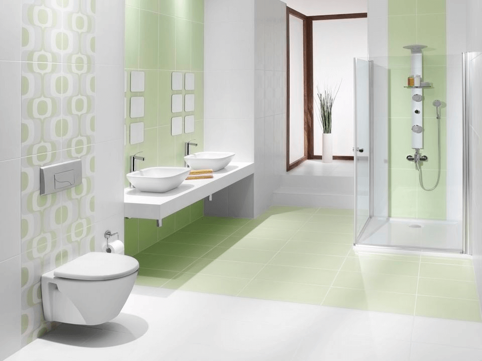 Green Tile for the bathroom Sink Area
