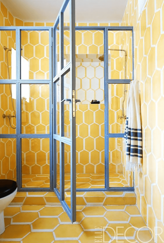 Honeycomb Art For Yellow bathroom tiles