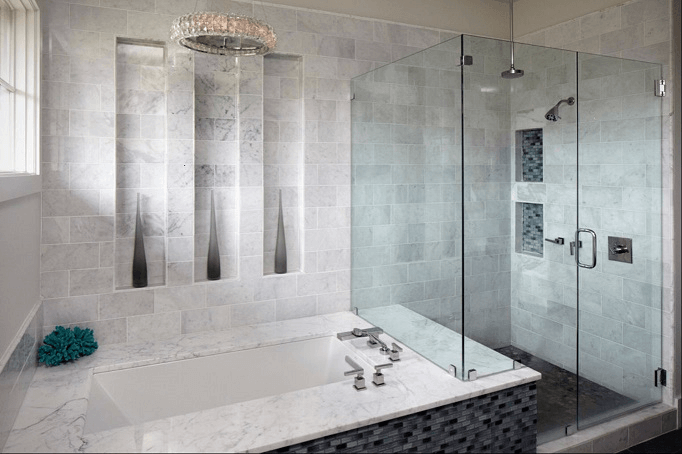 Marble Planks wall tiles design for bathroom white and gray