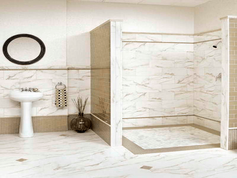 Marble white wall tile design bathroom