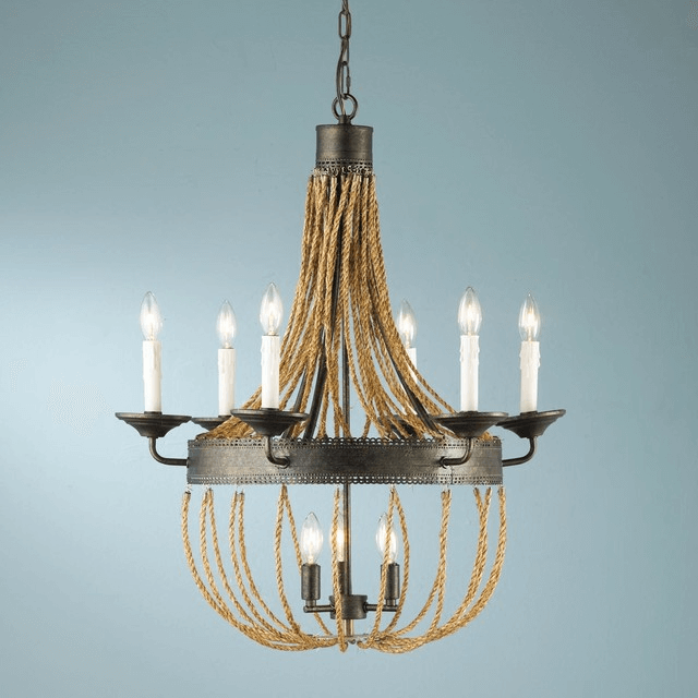 Middle Age Chandelier with Rope Accent