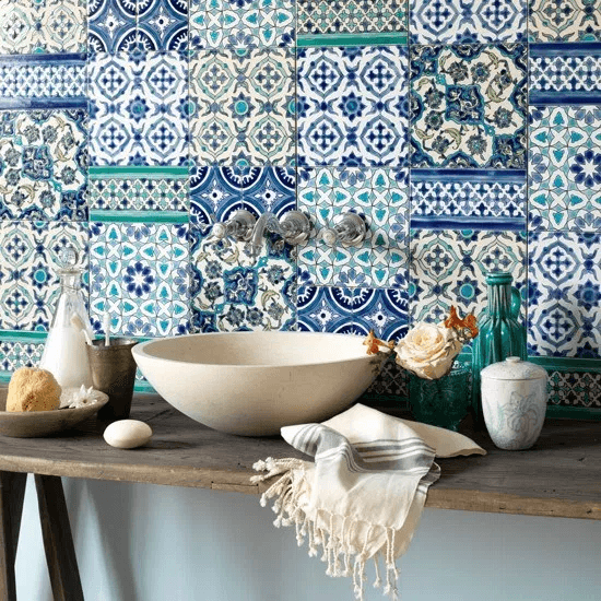 Moroccan influenced tile shapes bathroom