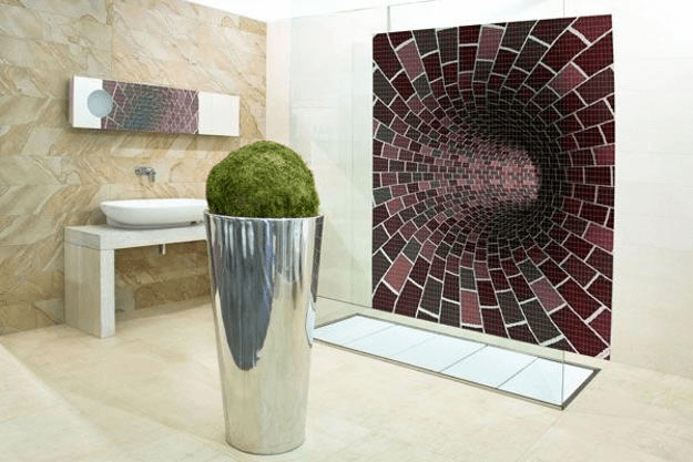 Mosaic tiles design for wall bathroom