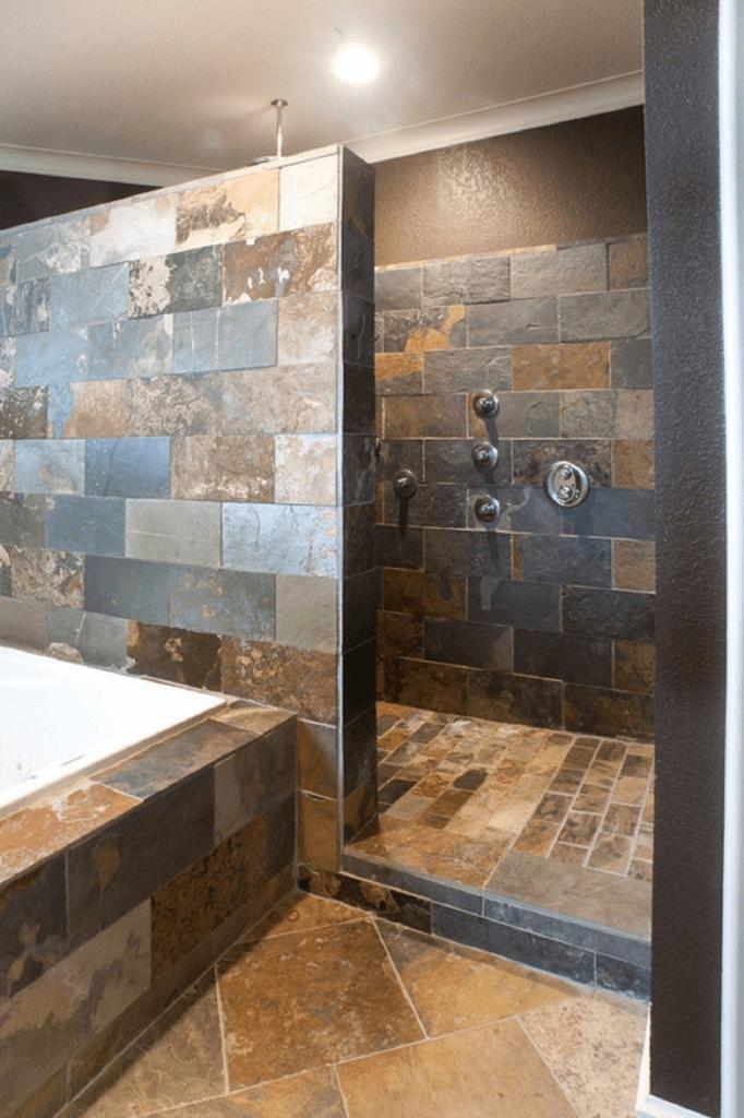 Natural bathroom tile ideas walk in shower