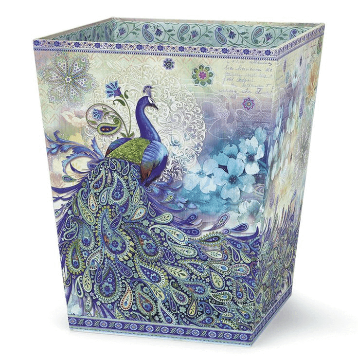 Nice decorative bathroom Wastebaskets with Peacock Paisley pictures