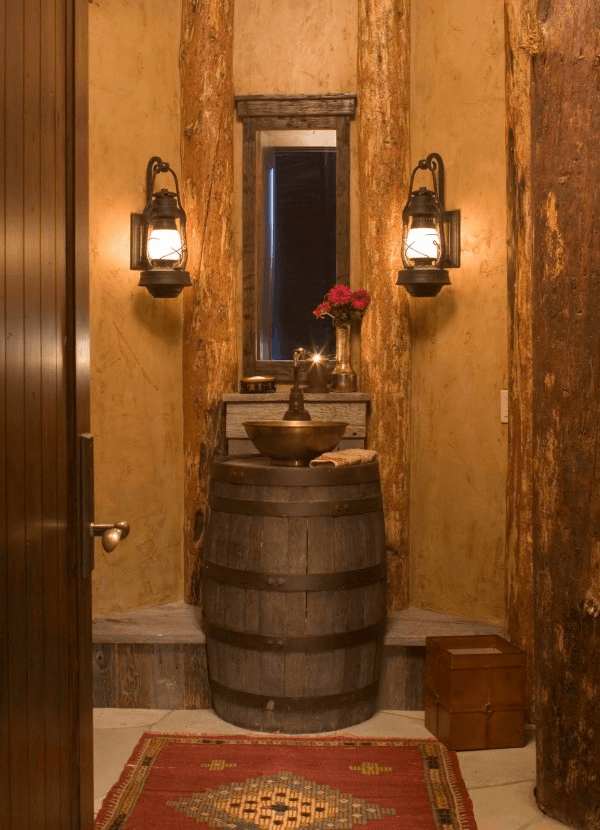 Old lantern and old sink for rustic bathroom lighting and design ideas
