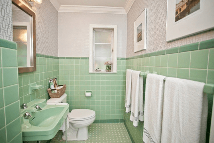Retro Green Tiles on Vacant Wall