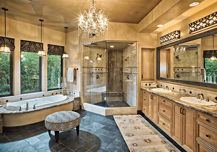 Rustic bathroom design with Venetian Chandelier