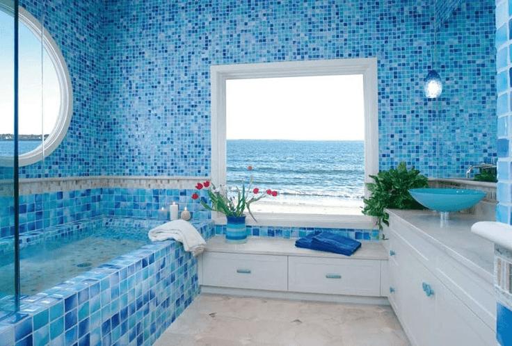 Sea glass tile for bathroom ocean impression