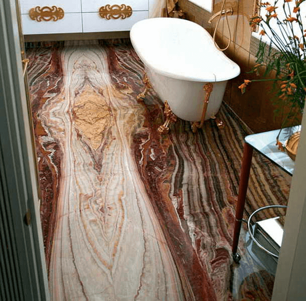Small space unique bathroom tile designs with wooden floor