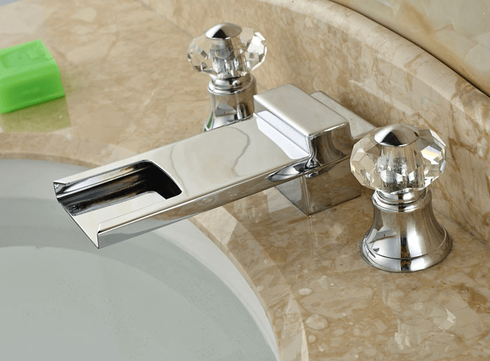 Stainless steel Bathroom Faucets with Crystal Handles