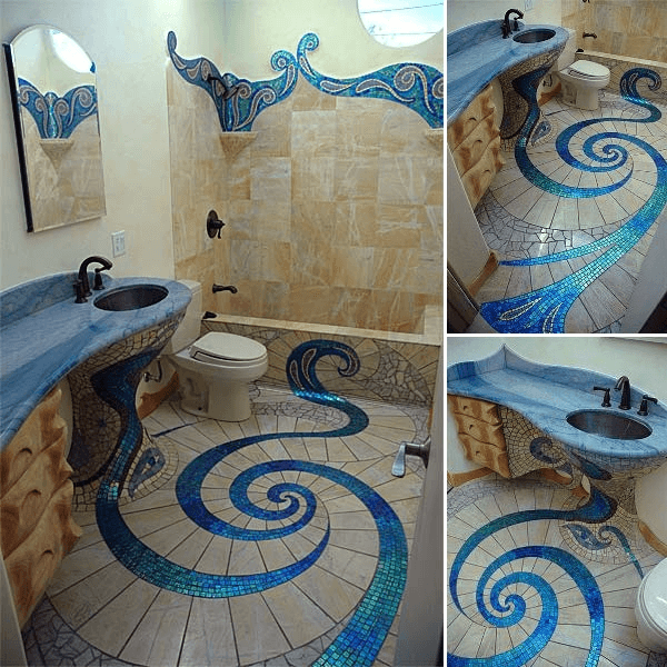 Unusual Bathroom Tile Designs With Spiral Floor Ideas