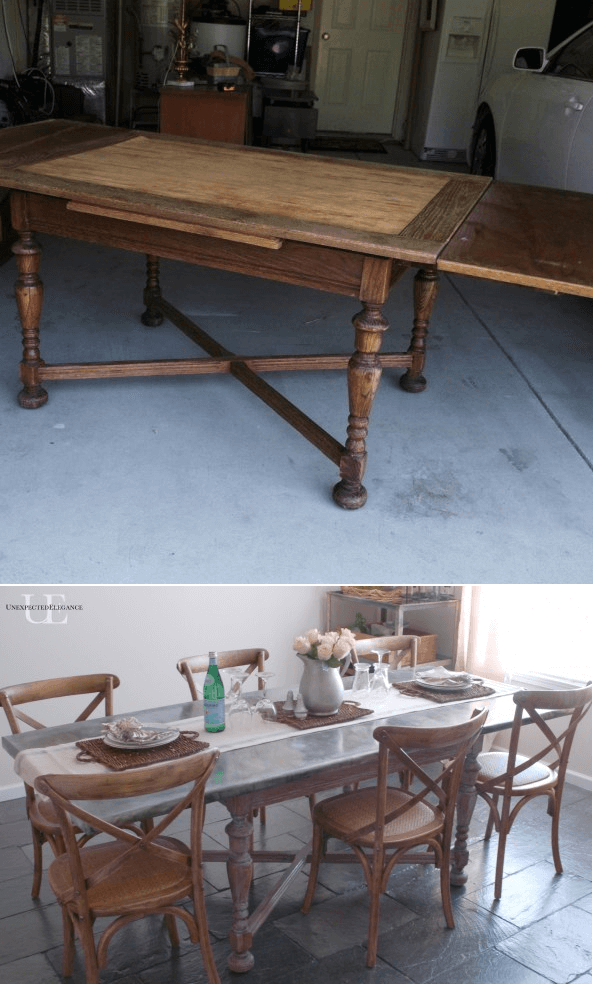 DIY dining table makeover ideas using zink cover top