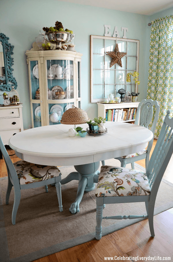 DIY white dining room table makeover after