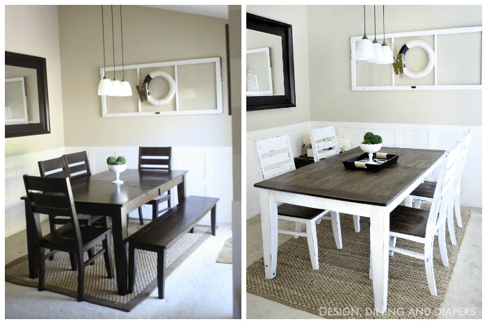 Farmhouse dining table and chairs makeover ideas before and after