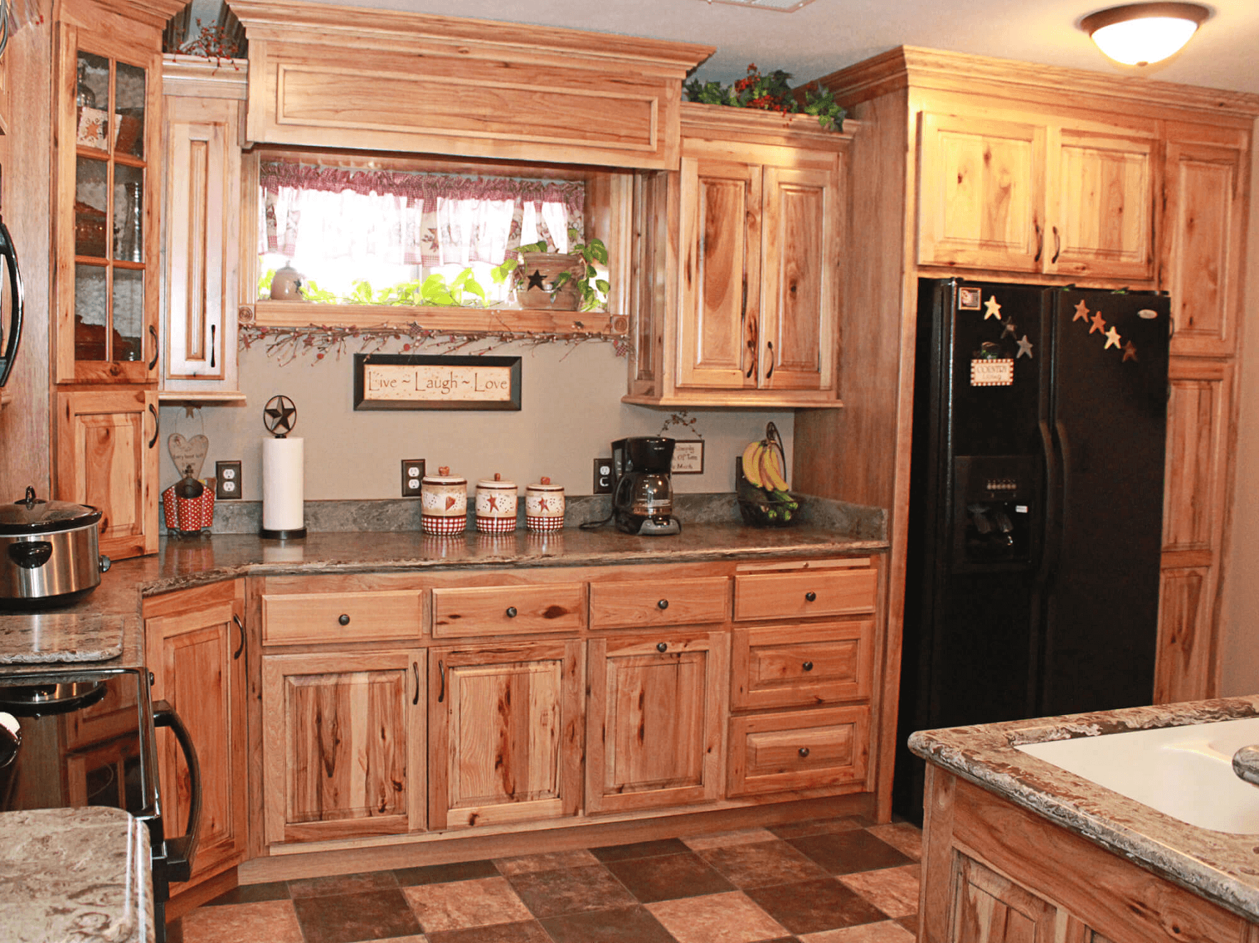 Hickory kitchen cabinets rustic